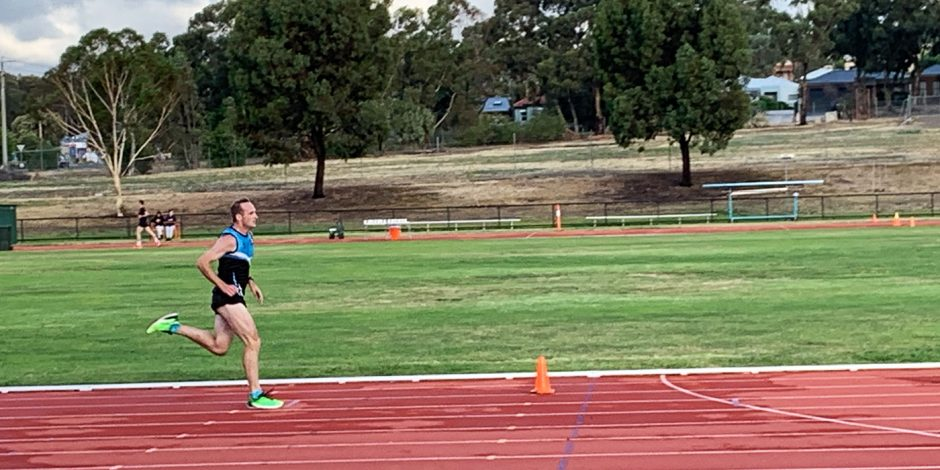 Glenn McMillan running at the Bendigo Athletics Track