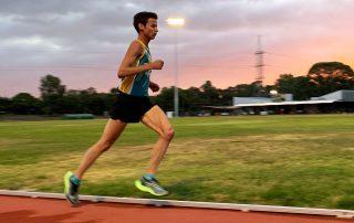 Jamie Cook running at the Bendigo Athletics Track