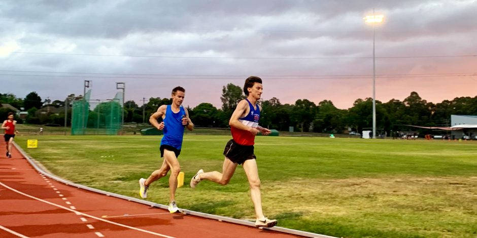 Samuel Quirk and Brian McGinley running at the Bendigo Athletics Track
