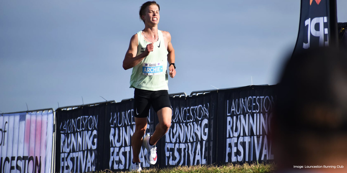 Archie Reid running in the 2020 Launceston Half Marathon