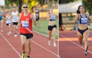 Greg Hilson and Laura Kadri running at the Bendigo Athletics Track
