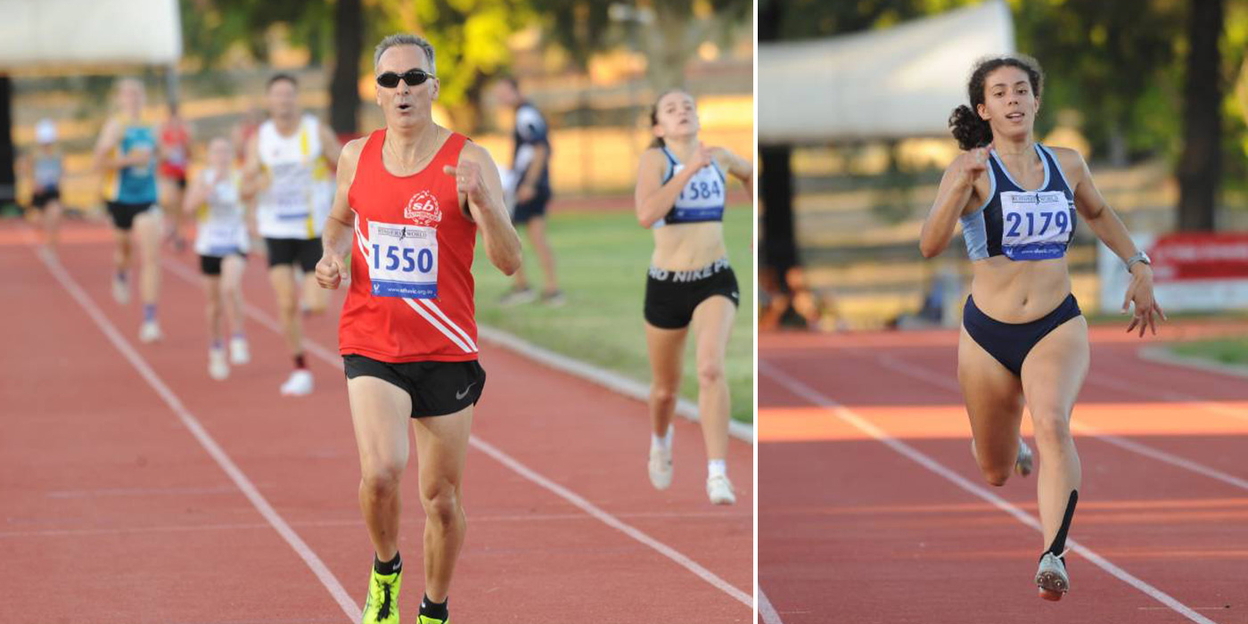 Greg Hilson and Laura Kadri running at the Bendigo Athletics Track
