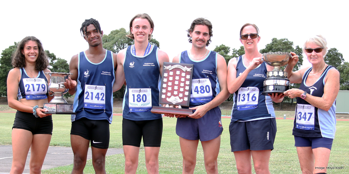 Eaglehawk clubmates Laura Kadri, Kenan Seebah, Kye Mason, James Bentley, Leah Langtree and Kathryn Heagney hold the three trophies the club retained at the 2021 country championships in Ballarat.