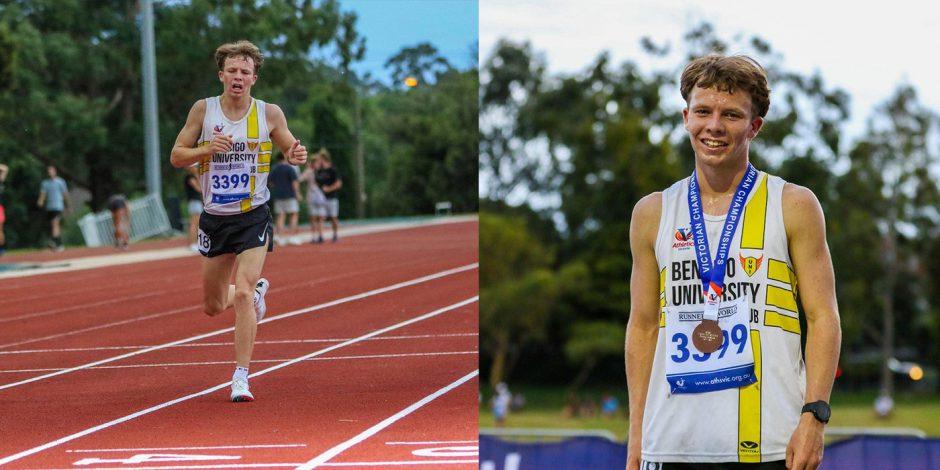 Bendigo University Athletic Club's Matt Buckell in action during the 2021 Athletics Victoria Under 20 3000m championships