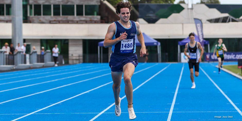 Athlete James Bentley sprinting