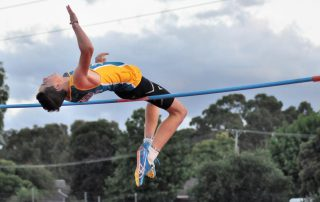 Liam Shadbolt cleared 1.83m at high jump to set a Bendigo Centre record for under-15s and under-14s on 5 Feb 2021. Photo courtesy of Greg Hilson.