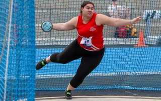 Emma Berg of Bendigo competes in the discus at the 2021 Athletics Victoria Track and Field Championships. Photo: Athletics Victoria