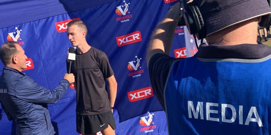 Andy Buchanan speaks to Athletics Victoria media at the 2021XCR round at Lardner Park