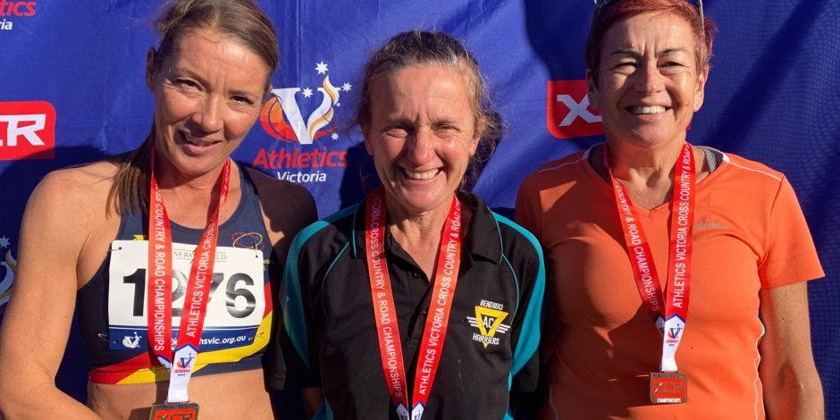 Anne Buckley gold medal in 50+ in the Athletics Victoria XCR round at Lardner Park