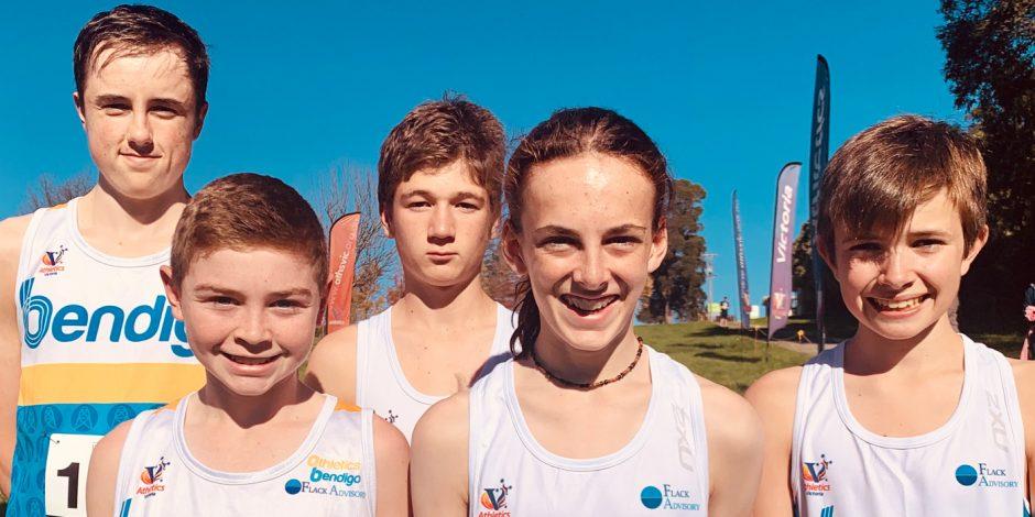 Bendigo junior team at 2021 Athletics Victoria's XCR round at Lardner Park