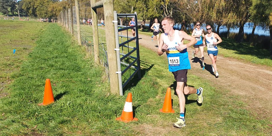 Nathan Stoate running in the Athletics Victoria XCR round at Lardner Park